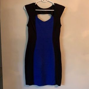 Blue and black Express bodycon dress